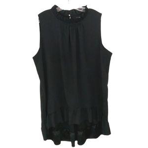 Lane Bryant Black High Low Ruffle Sleeveless Dress